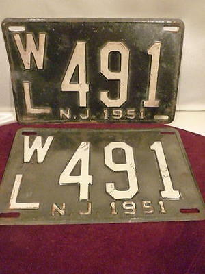 Rare Pair New Jersey 1951 Auto Car Truck License Plates