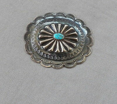 Old Vintage Native American Silver Turquoise Concho