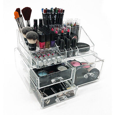 New! Angela Makeup/jewelry Organizer - Large Acrylic Tiered Drawer Cosmetic Case