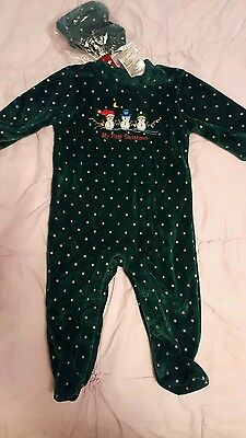 Baby Boy My First Christmas 6-9 mos Jumpsuit/With Cap