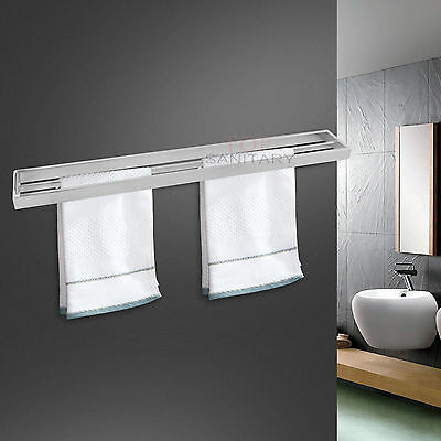 800mm Double Towel Rail Rack Wall Mounted Solid Stainless Steel 304 Bathroom NEW