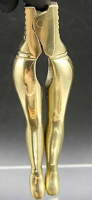 Vtg Solid Brass Risque Sexy Nude Naked Lady Leg Butt Nutcracker Mancave Barware
