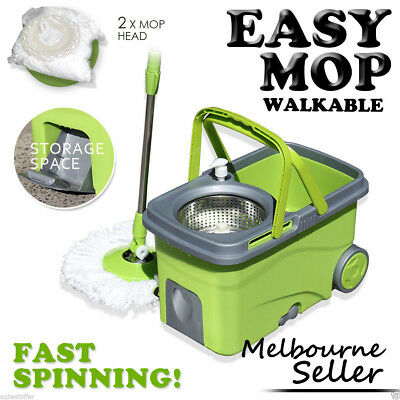 Spin 360° Mop & Magic Spin Bucket with Free Replacement Mop Heads x2