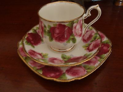 """Vintage Royal Albert Crown """"Old English Rose"""" Trio mid century Cup Saucer Plate"""