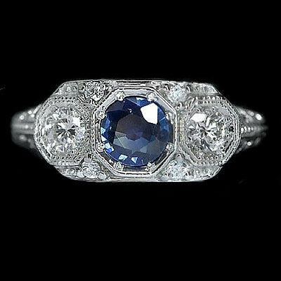 Antique Vintage Art Deco 3 Stone Royal Blue Sapphire Diamond Ring White Gold