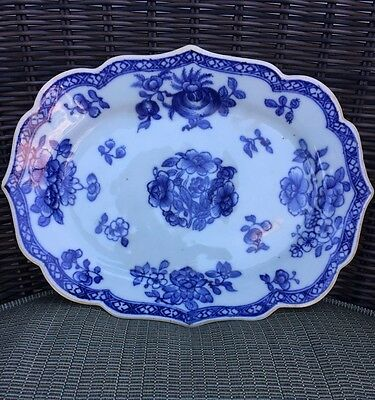Antique 18th Century Chinese Export Blue and White Small Platter Plate