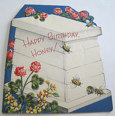 Used Vtg Greeting Card Bees on Honey Bee Box with Flowers