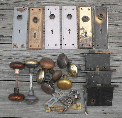 Lot of Reclaimed Achitectural Salvage Vintage Door Knobs Back Plates & Locks