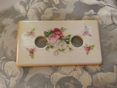 Vintage light switch finger plate cover ceramic roses cream pink china dolly
