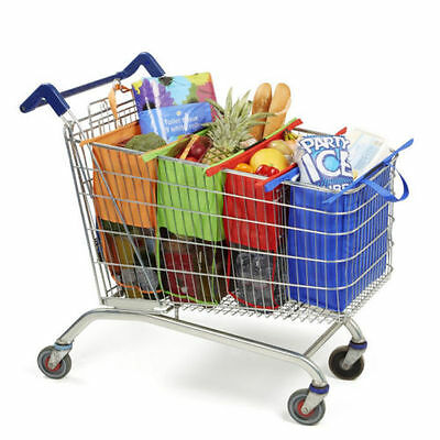 Colorful Reusable 4 Bags Cart Shopping Trolley Bags Shopping Carrier Bag