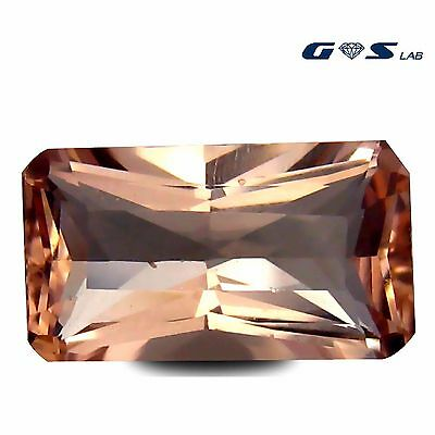 3.87 ct GSL Certified Flashing Cushion Cut (13 x 8 mm) Morganite Loose Gemstone