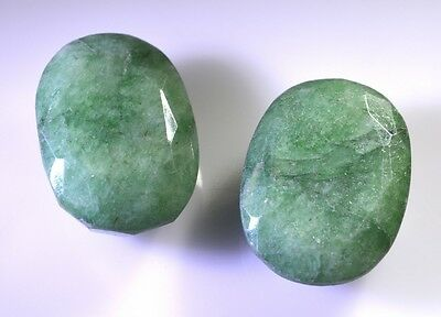 Indian emerald faceted Green Oval gems 19x25 1 pc