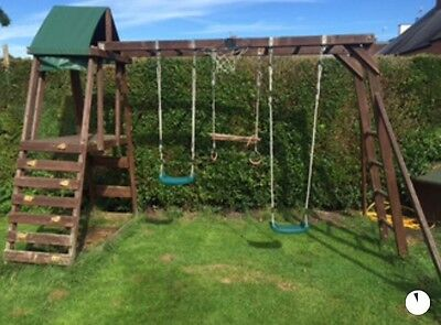Dunster House Climbing Frame With Slide Swings And Monkey Bars