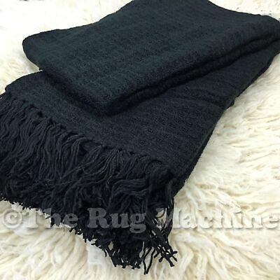 LUX BLACK PLUSH COZY LUXURIOUS SOFT THROW RUG BLANKET 130x180cm **NEW**
