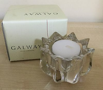 Galway Crystal Tulip Votive With Tealight Brand New In Box Ideal Christmas Gift