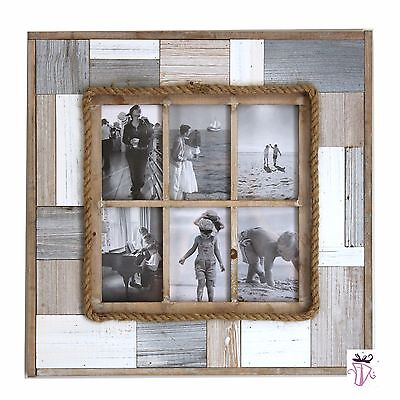 Six hole Gallery 4 x 6in  Collage Rustic Shabby Chic Timber Picture Photo Frame
