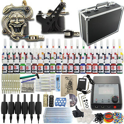 Starter Tattoo Machine Kit 2 Gun SuitCase 40 Color Ink Power Supply Set Needle