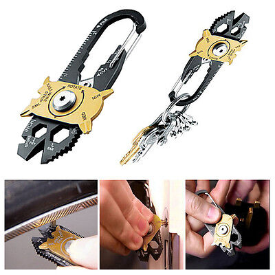 20 in1 Stainless Steel Screwdriver Wrench Keychain EDC Pocket Camping Multi Tool