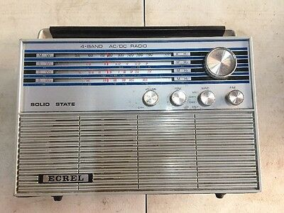 Vintage Ecrel 4 Band Ac/dc Radio Wireless In Good Working Condition Japan Made