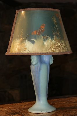 1930's VAN BRIGGLE 3 INDIAN TABLE LAMP Original Shade need re-wire.