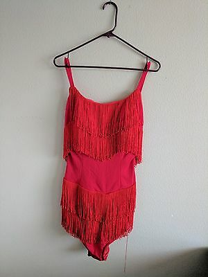 Vintage 1950s Cole of California Red Fringe One Piece Swimsuit Sz 16 RARE