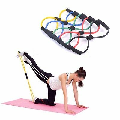 Muscle Chest Expander Rope 8 Type Workout Fitness Exercise Yoga Tube RF