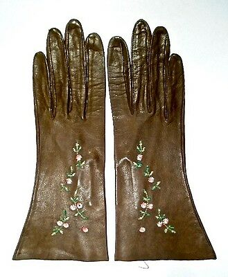 Embroidered Brown Antique Kid Leather Gloves ~ Size 6 1/2 ~ Wilkins
