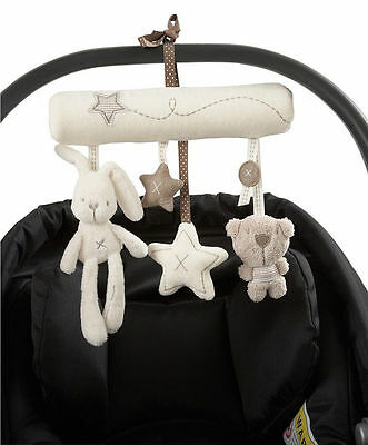 Rabbit baby music hanging bed seat plush toy Hand Bell Plush Toy Stroller Gift R