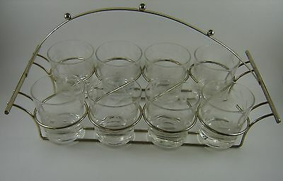 Vintage Tumblers Glasses with Caddy Holder Etched Hughes Cornflower Retro