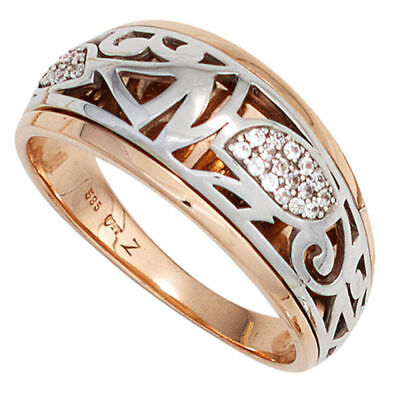 Ladies Ring with Ornament 26 Diamonds Brilliants, 585 gold Rose gold White gold