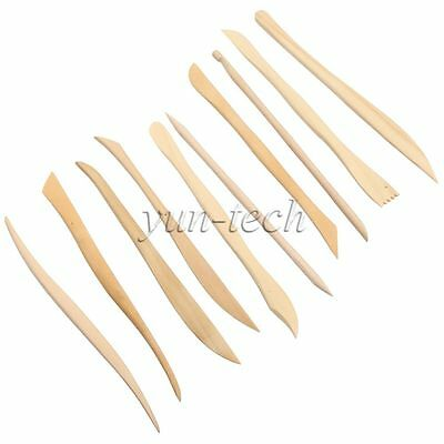 10pcs Wooden Shaping Clay Sculpture Pottery Play Dough Carving Modeling Tool Set