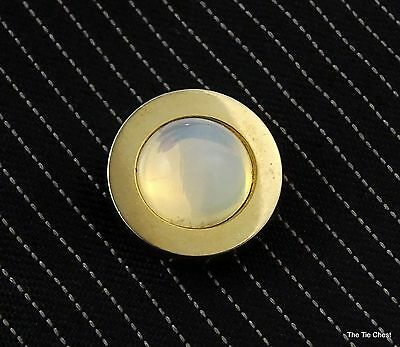 Vintage Sarah Coventry Tie Tack Pin White Moonglow Stone Gold Tone