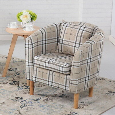 Deluxe Tartan Fabric Tub Chair Armchair Dining Living Room Office Hotel - Cream