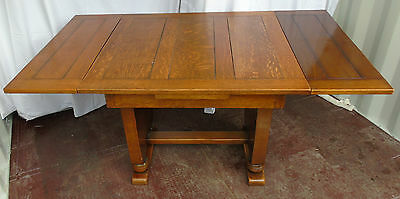 Antique Vintage 1920's Art Deco Draw Leaf Extending Oak Dining Table Occasional