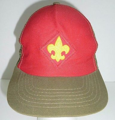 BOY SCOUTS of America Uniform Green & Red Cap Hat sz S / M Embroidery