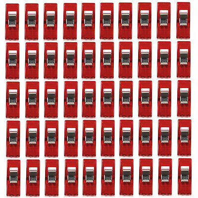 50pcs Plastic Quilter Holding Wonder Clips Sewing Accessories Quilt Binding Red
