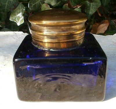 Antique C19th Brass & Blue Glass Writing Slope Inkwell Bottle