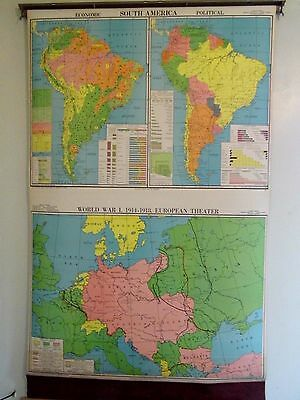VTG Cram's Cloth Pull Down School Map WW1 1914-1918 S. America European Theater