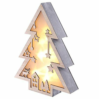 Puckator LED Christmas Tree Decoration Free Standing Wall Mounted Light Wood New