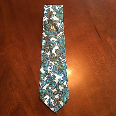 Vintage 1970s Blue And White Psychedelic Paisley Cotton Tie