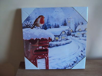 LED Light Up Christmas robin  Canvas Picture Decoration 30 x 30 cms  new