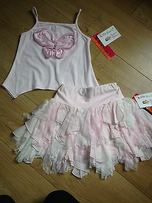 Kate Mack Girls Pink Butterfly Vest Top & Lace Skirt Set Summer 2015 Age 7 BNWT
