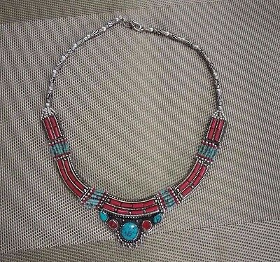 MIAO SILVER OLD INLAY turquoise coral CLOISONNE FLOWER HAND pendant necklace