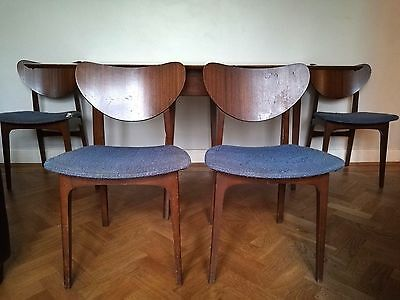 vintage retro 1960's butterfly back teak chairs Sutcliffe x 4 mid 20th century