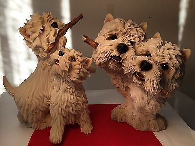 "2 X Vintage Signed Sherratt And Simpson Westies"" - West Highland Terrier Models"