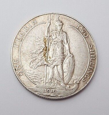 1910 - Silver - Two Shillings / Florin Great Britain - King Edward VII - UK Coin