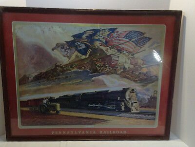 "1943 PENNSYLVANIA RAILROAD ART by DEAN CORNWELL - ""FORWARD"" WW2 & TURBINE"