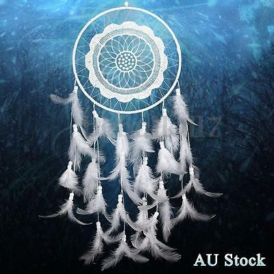 White Handmade Lace Dream Catcher Feather Bead Hanging Home Decoration Ornament