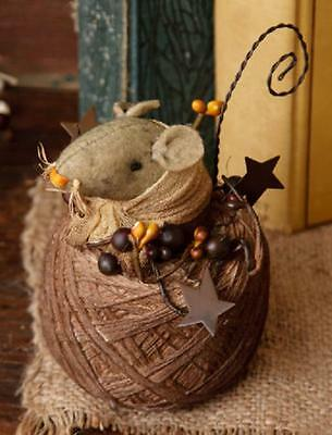 Cute little country mouse cotton ball thread sewing Shelf Sitter star Primitive