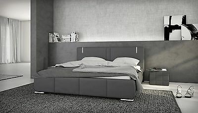 doppelbett 140x200 kunstleder led bett polsterbett designerbett grau ehebett eur 329 00. Black Bedroom Furniture Sets. Home Design Ideas